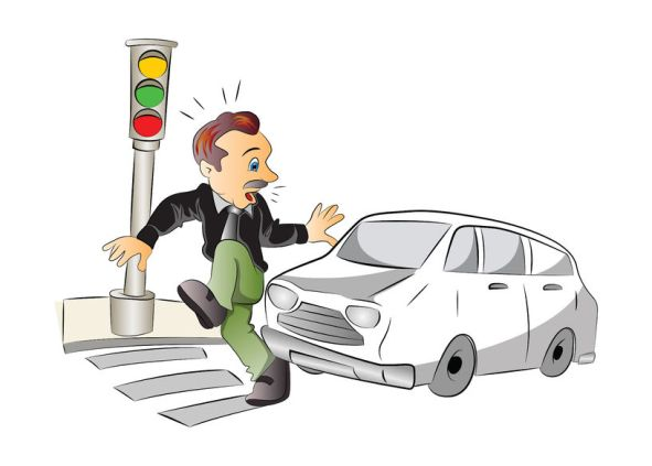 37602461 - road safety, man about to be hit by a car, vector illustration