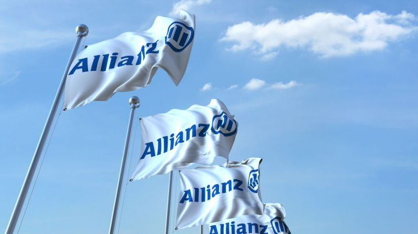 Waving flags with Allianz logo against sky, editorial 3D rendering