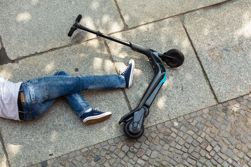 Unconscious Man Lying On Street After Accident Electric Scooter